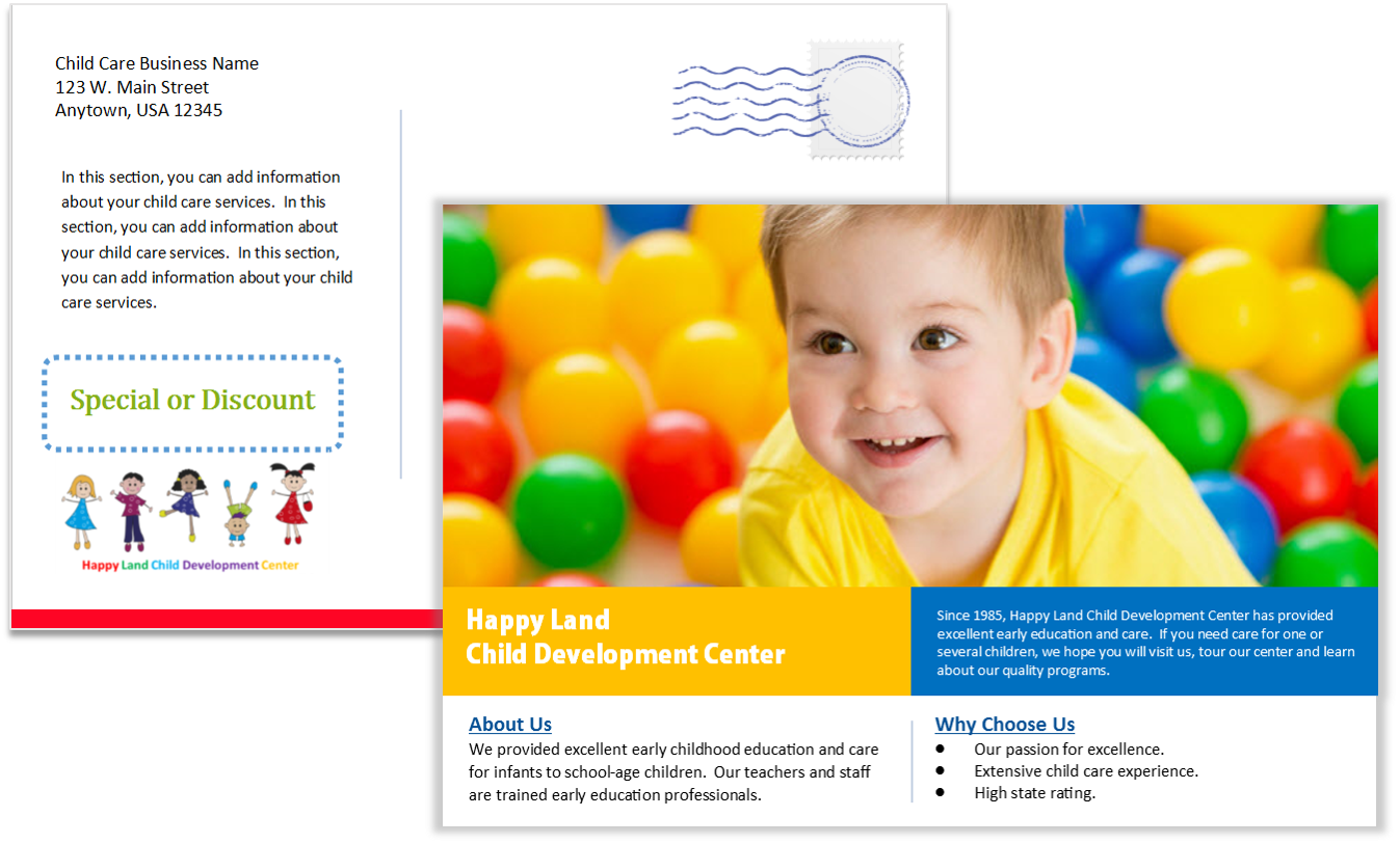 Child Care Postcard Template Three - Sample One
